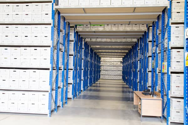 Document storage boxes in the warehouse racking