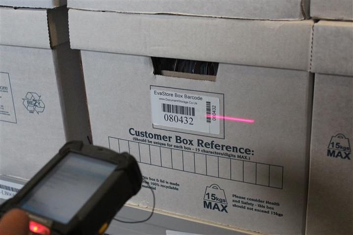 Scanning storage box barcode