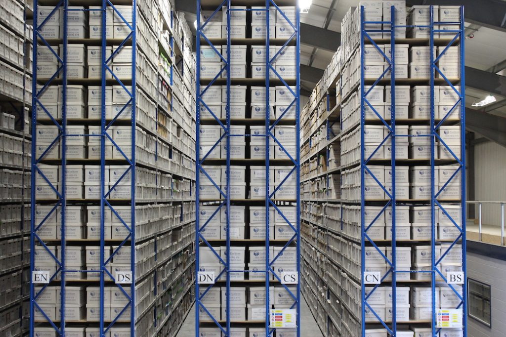 Boxes inside document storage facility