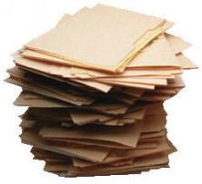 Folders of documents stacked